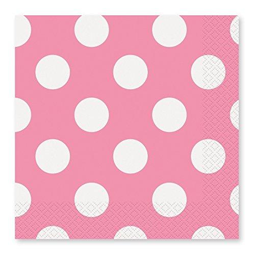takestop®, DF_52477, papieren tafellakens voor feesten, roze, pois, 16,5 x 16,5 cm, USA en Getta, verjaardag, bruiloft, doop, party