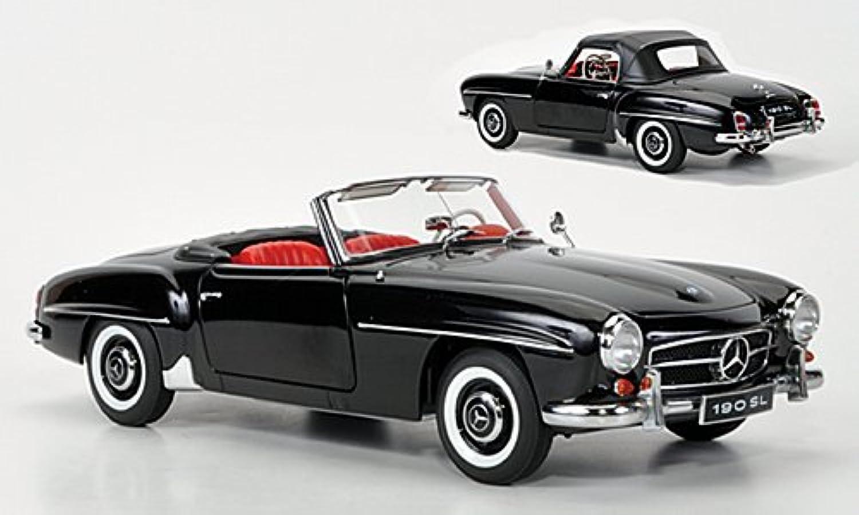 Mercedes 190SL, schwarz, Modellauto, Fertigmodell, AUTOart 1 18