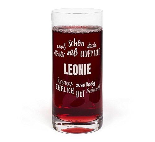 printplanet® Glas mit Namen Leonie graviert - Leonardo® Trinkglas mit Gravur - Design Positive Eigenschaften