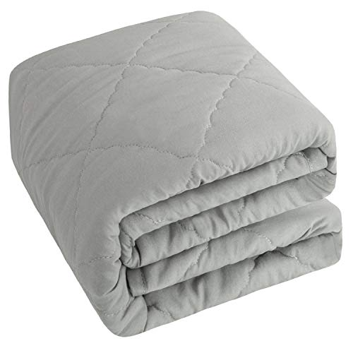 NTBAY Down Alternative Toddler Comforter, Lightweight and Warm Solid Color Baby Crib Quilted Blanket, 39 x 47 inches, Smoke Grey