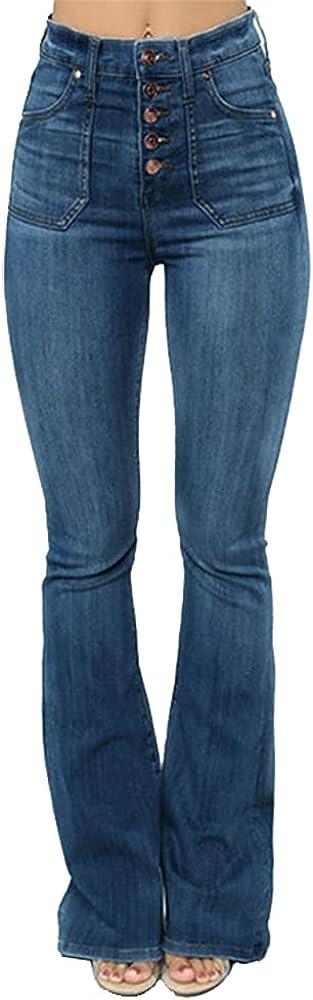 TWFRHC Women High Waist Flare Jeans Casual Bell Bottom Slim Wide Leg Button Fly Denim Pants Plus Size
