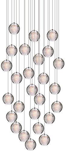 Lámpara de techo LED con forma de bola de cristal para salón, salón, escalera, comedor, bar, dormitorio, cromo, altura regulable, lámpara de techo moderna, 3 focos