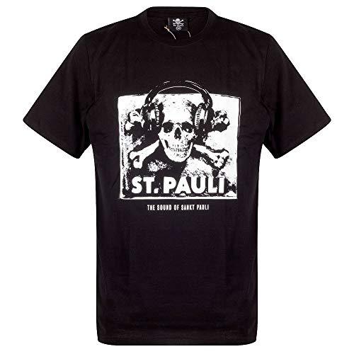 FC St. Pauli Herren T-Shirt Fanartikel The Sound of Sankt Pauli Musik Totenkopf Kopfhörer Schwarz Weiß (M)