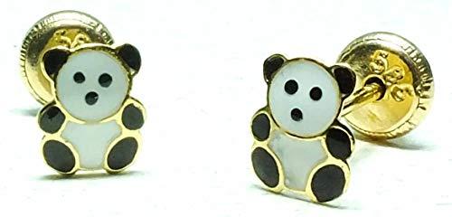 Pendientes oro 18k, bebe niña o mujer, modelo oso panda esmaltado a mano de alta calidad. Medida de la joya 5 x6 mm.Con cierre de máxima seguridad a rosca.
