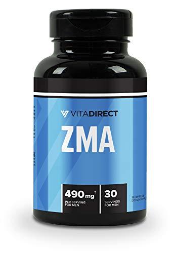 VitaDirect Premium ZMA (Zinc, Magnesium, Vitamin B6) Supplement, 490mg per Serving, 90 Vegan Capsules