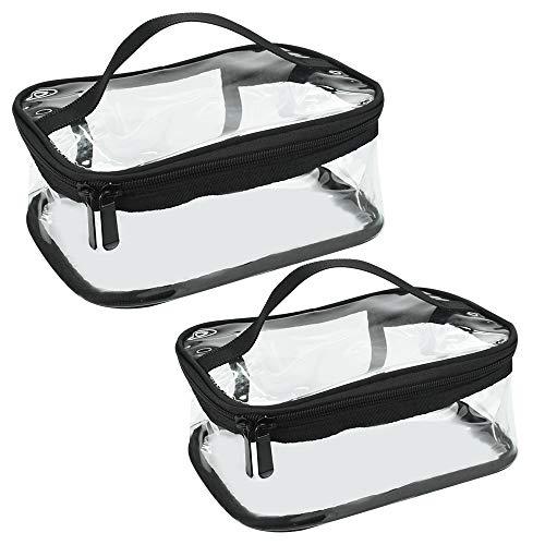 IGRMVIN 2 Stück Kulturbeutel Kulturtasche Transparent Tragetasche Durchsichtige Kulturtasche PVC Kosmetiktasche Wasserdicht Make up Tasche Reisetasche Handtasche Handgepäck Tasche für Reise Damen