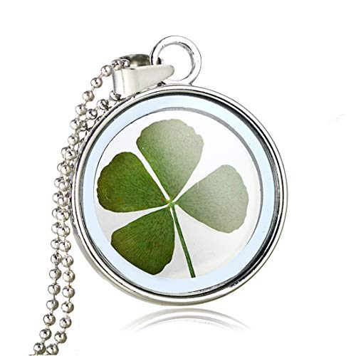 Natural Four-Leaf Clover Necklace Stainless Steel Bead Chain Charms Simple Hollow Lucky Jewellery
