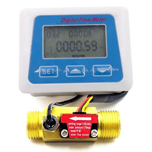 Iycorish Pantalla Lcd Digital Medidor De Sensor De Flujo De Agua Caudalímetro Rotámetro Registro De Tiempo De Temperatura Con Sensor De Flujo G1/2