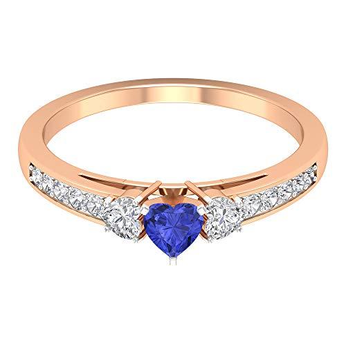 Anillo de compromiso de 3 quilates de tanzanita con detalles de diamante, anillo de compromiso de tres piedras de oro (4 mm de tanzanita en forma de corazón), 14K Oro
