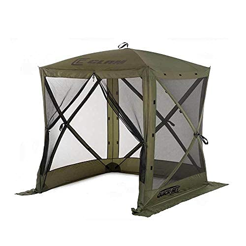 CLAM Quick-Set Traveler 6 x 6 Foot Portable Pop Up Outdoor Camping Gazebo Screen Tent 4 Sided Canopy Shelter with Ground Stakes and Carry Bag, Green