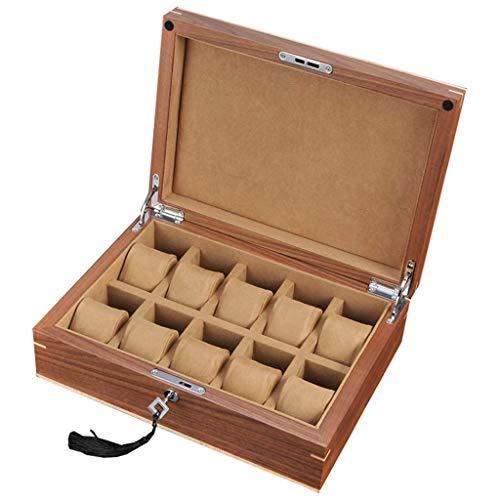 GQSHK GQSHK Uhrenbox aus Holz 10 Slots Uhr Reisetasche für Männer Frauen Schmuck Display Aufbewahrungsboxen Showcase Organizer mit Glasplatte und 10 Kissen