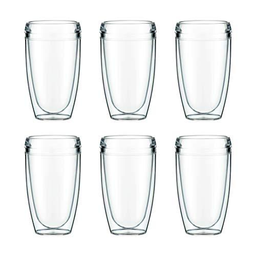 Bodum PAVINA OUTDOOR - Set 6 bicchieri a doppia parete in plastica, plastica, 6 x 0.45 l