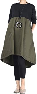Women's Long Sleeve Dress High Low Loose Cotton Tunic Dresses with Pockets