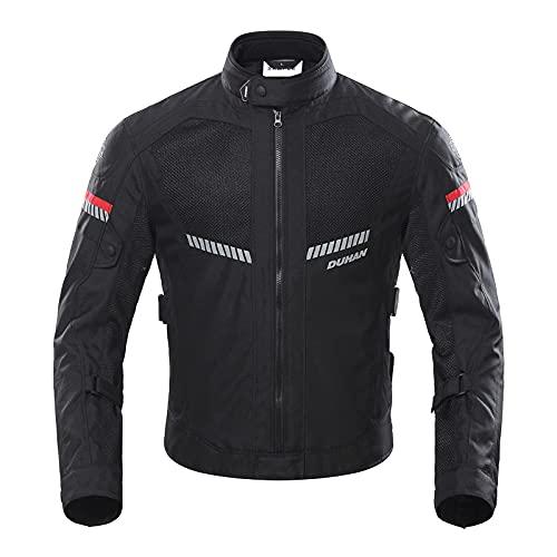 BORLENI Chaqueta de Motocicleta de Moto para Hombre, Respirable, Armadura Protección, reflexión de Alto Brillo, para Verano Primavera otoño XL