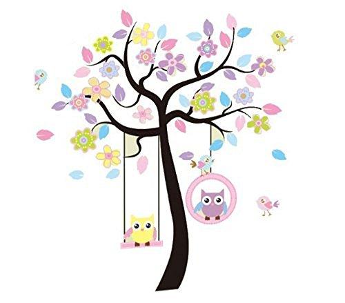 WallStickers Decal - Decalcomania da parete raffigurante un albero con gufetti in altalena, dimensione XXL 60 x 90 cm, 2 parti, colore: Vari colori/Trasparente