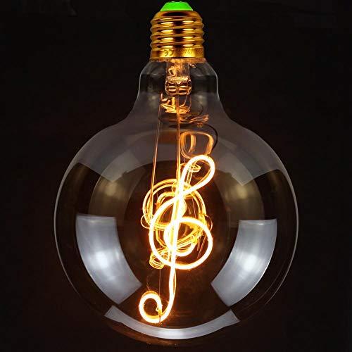 TIANFAN Vintage LED-Lampen Big Globe G125 4W 220 / 240V Alphabete Spezielle dekorative Glühbirne Super Yellow Warm (Music)