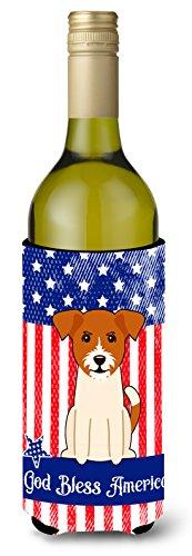 Caroline tesoros del bb3103literk patriótico EE. UU. Jack russell terrier para botella de vino aislante beverge Hugger, para botella de vino, multicolor