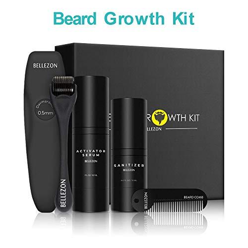 Lievevt Nuovo aggiornamento 4 PCS Beard Growth Tools con 30ml Barba Crescita Attivatore Siero, Rullo Barba, Pettine Barba e 15ml Sanitizer per Gli Uomini papà