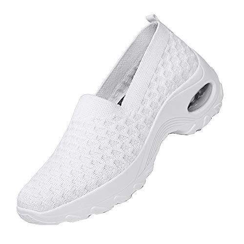 DAYOUT Zapatillas de plataforma para mujer Wallking Zapatos de malla transpirable de aire acolchado señora casual deporte tenis zapatos cómodos, color Blanco, talla 36.5 EU ⭐