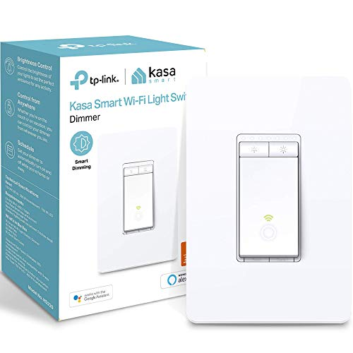 Kasa Smart Dimmer Switch HS220, Single Pole, Needs Neutral Wire, 2.4GHz Wi-Fi Light Switch Works with Alexa and Google Home, UL Certified,, No Hub Required