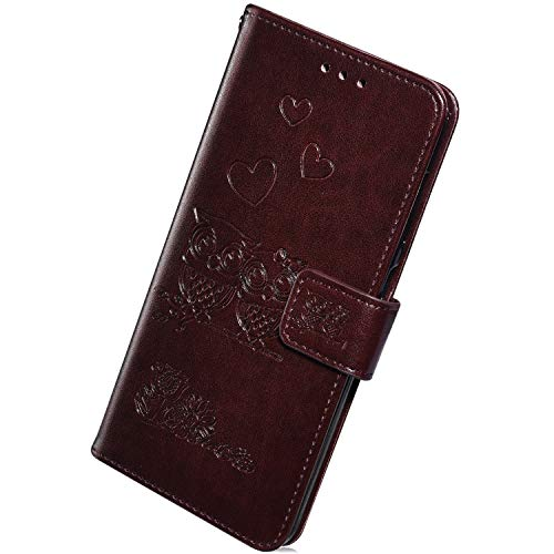 Herbests Compatible with Huawei P Smart 2018 Wallet Case Cute Retro Owl Love Heart Flower Pressed Pattern Design Leather Flip Protective Case Cover Card Holder Wrist Strap Stand,Brown