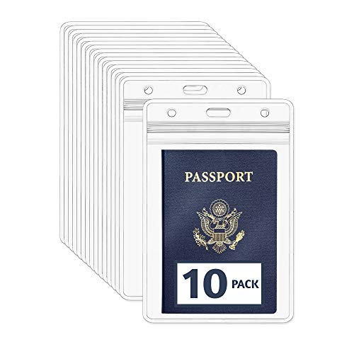 EcoEarth Passport Holder (Clear, 10 Pack), Extra Large (XXL) Vertical ID Holder, Resealable and Waterproof Identification Name Card Holder