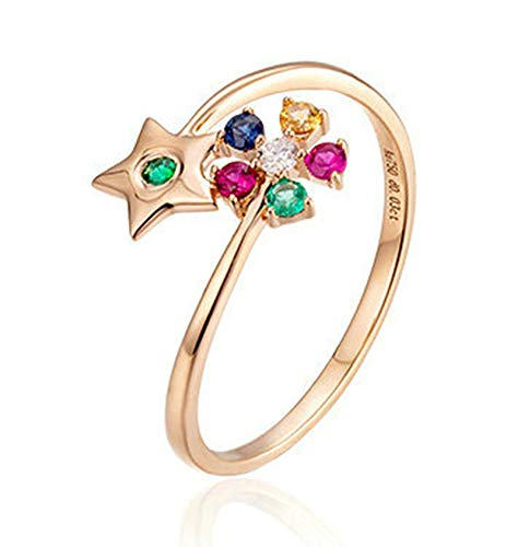 Rubyia Diamond Engagement Rings for Her 18k Rose Gold 0.03ct White Diamond Round with Flower Pentagram Size T½