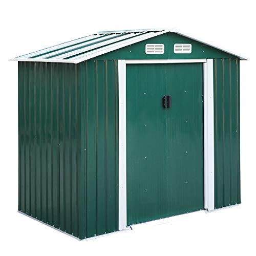 JAXPETY 4.2' x 7' Outdoor Steel Storage Shed, Lawn Equipment Tool Organizer for Backyard Garden w/ Gable Roof, Vents, Lockable Sliding Door, Stable Base, Green