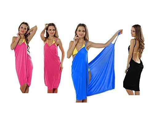 PREMIUM (2-in-1) trendy luchtige strandjurk - wikkeldoek jurk wikkeljurk tuniek pareo sarong doek badhanddoek - roze