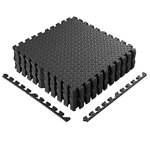 Esterilla Puzzle Gimnasio 60 x 60 cm, 48 Piezas Esterilla Puzzle para Suelos, Suelo de Gimnasio de Goma Espuma EVA, Esterillas de Espuma Entrelazadas Esterilla (Negro)