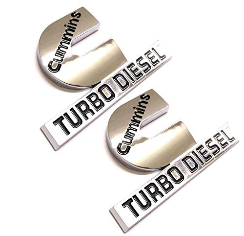 2pcs (small size) Cummins Turbo Diesel Emblems,3D Badge High Output Replacement for RAM 2500 3500 Fender Emblem Glossy Chrome Black