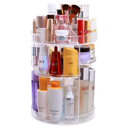 OFNMY Kosmetik Aufbewahrungsbox Kosmetik-Organizer 360° drehbar Kosmetikbox für Lippenstift, Gesichtscreme, Pinsel, Hautpflegeprodukte