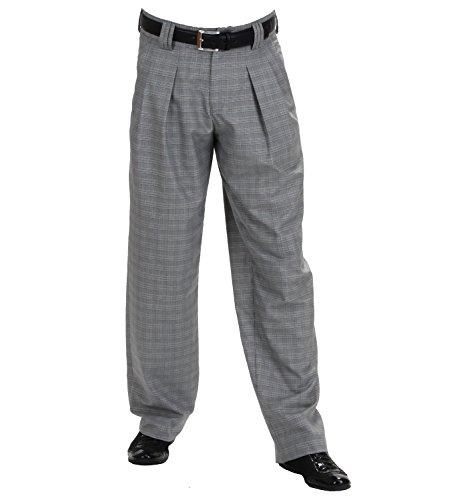 H K Mandel Karierte Bundfaltenhose Herren, Fifties Style Retro-Vintage Stil Tanzhosen Model Boogie Größe 50