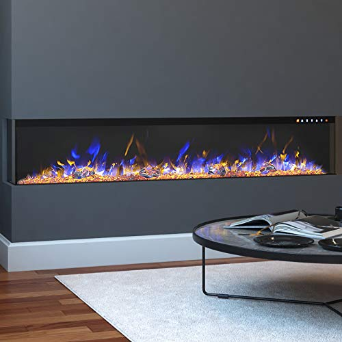 Regal Flame Spectrum Modern Linear Electric 3 Sided Wall Mounted Built-in Recessed Fireplace (60)