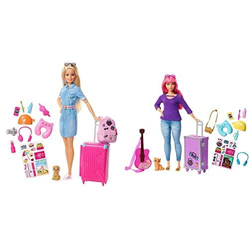 Barbie Vamos de Viaje, muñeca con Accesorios, Edad Recomendada: 3 años y mas (Mattel FWV25) + Muñeca Daisy Vamos de Viaje con Accesorios (Mattel FVV26)