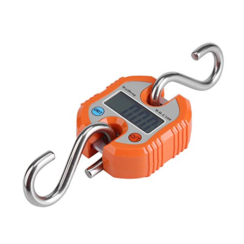 Gepäckwaage Elektronische Waage Digitales Fischen Postbehang Hakenwaage Tragbare Mini Tragbare Digitale Reisekofferwaage Gewichte mit LCD-Display für Reisen im Freien zu Hause 0g ~ 100kg(Orange)