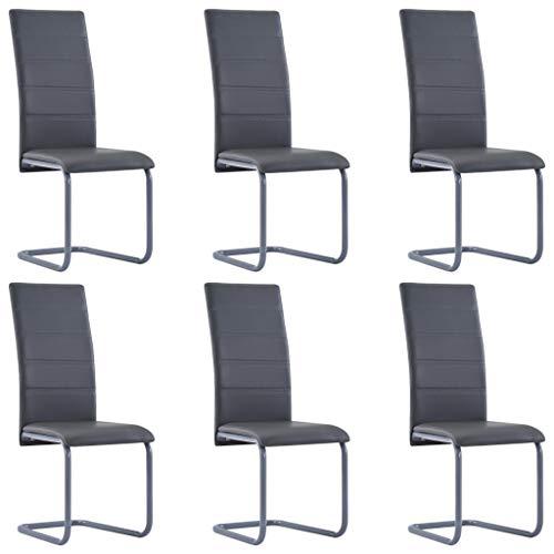 Festnight Esszimmerstühle 6er Set Schwingstuhl Set Wohnzimmerstuhl Bürostuhl Esszimmerstuhl Essstuhl Küchenstühle Stuhlset Sitzgruppe Grau Kunstleder 41 x 52,5 x 102,5 cm