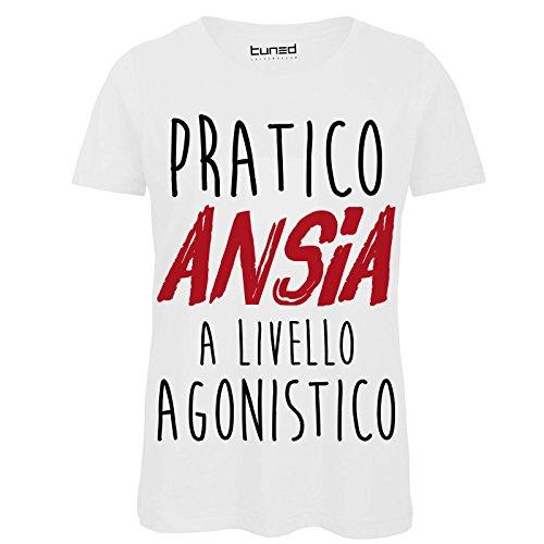 CHEMAGLIETTE! T-Shirt Divertente Donna Maglietta con Stampa Frasi Ironiche Pratico Ansia Tuned, Colore: Bianco, Taglia: M