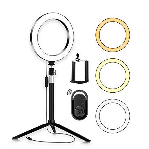 Anillo luminoso LED portátil de 20 cm, diámetro 3200 K-5500 K, bicolor, con forma de tricolor, 3 unidades, modo de iluminación portátil para maquillaje fotográfico