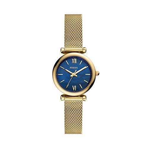 Reloj Fossil Carlie Mini ES5020 - Reloj de Acero Inoxidable Chapado en Dorado con Esfera en Azul