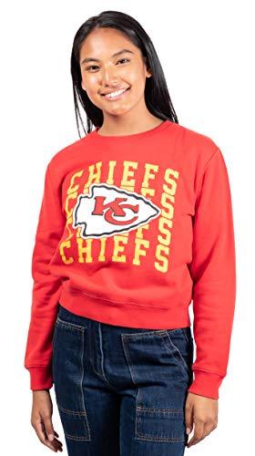 Ultra Game Women's Snow Fleece Crop Top Sweatshirt, Team Color Distressed, Small