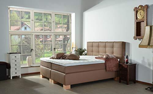 MeineMatratze24 Boxspringbett ELSA | Direkt vom Hersteller | 7-Zonen Taschenfederkern-Matratze H2 / H3 / H4 und Topper Aufbau | Hotelbett Doppelbett | (100 x 200 cm)