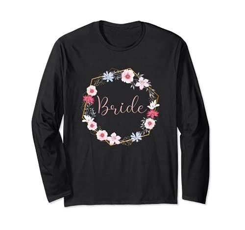 Bride - Ghirlanda di fiori per addio al celibato, rosa Maglia a Manica
