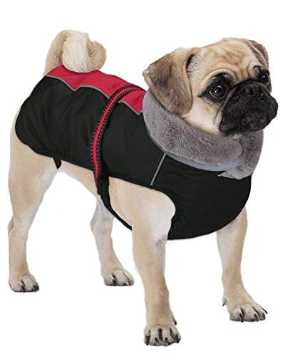 Dociote Hundemantel - reflektierende & wasserdichte Winterjacke mit Bauchschutz Hundejacke Fleece gefüttert Wintermantel für kleine mittelgroße Hunde Rot XL