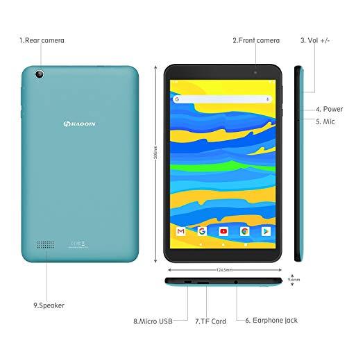 Tablet 8-Zoll Android 9.0 - HAOQIN Tablet PC H8 Pro Quad Core CPU 32GB ROM 1280 x 800 HD IPS Displays WiFi Bluetooth FM Google Zertifiziertes(Blau)