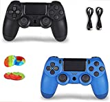 2 Pack Wireless Controller for PS4 Remote for Sony PS4 with 2 Pack Charging Cable, Wave Blue + Jet Black