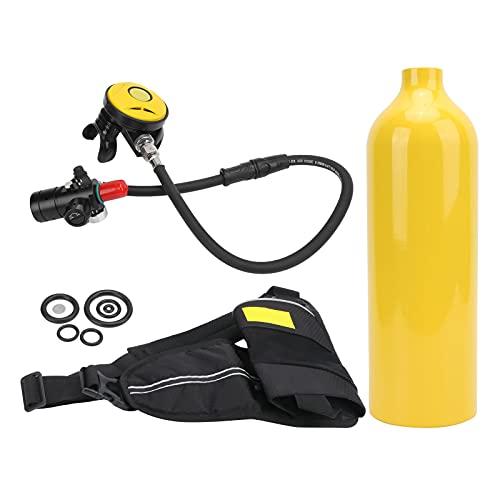 Kit de tanque, equipo de snorkel transpirable y duradero Fácil identificación Resistencia al agua y resistencia a la corrosión para bucear(Botella de oxigeno amarilla)