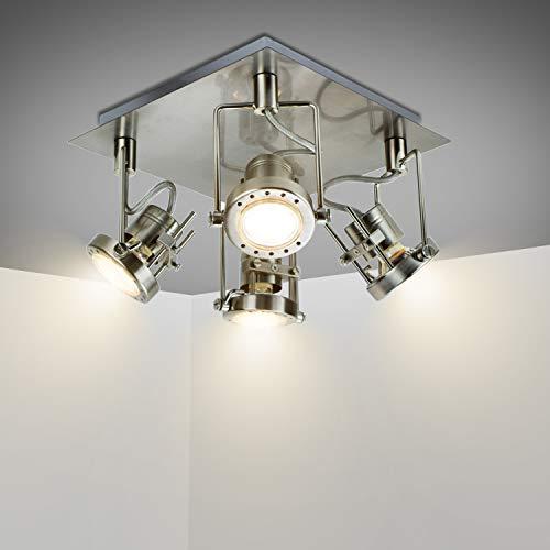 Depuley Foco de techo LED moderno con 4 focos orientables GU10, blanco cálido, lámpara de techo con placa cuadrada, foco de techo para salón, cocina, bombilla incluida