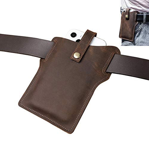 AQUYY Funda para Cinturón de Cuero para Teléfono, Funda con Cintura Vertical Exterior para Viajar Deporte, Compatible con iPhone 12 Mini / 12 Pro MAX / 11 / XS MAX / 7 8 Plus, Brown L