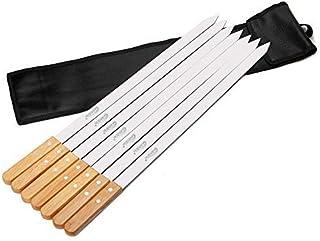 أسياخ شواء من الفولاذ المقاوم للصدأ بعرض 28.5 سم مع مقبض خشبي لصنع كابوب الفارس البرازيلي كوبيد، مجموعة من 7 قطع مع حقيبة